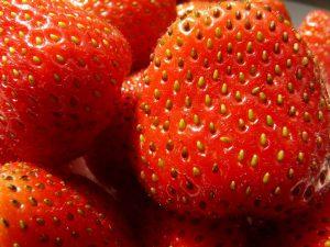 Bei den kleienn Punkten auf den Erdbeeren handelt es sich um Nüsse. Erdbeeren gehören somit zur Gattung der Sammelnussfrüchte.